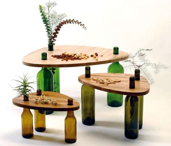 A Table Made of Wine Bottles