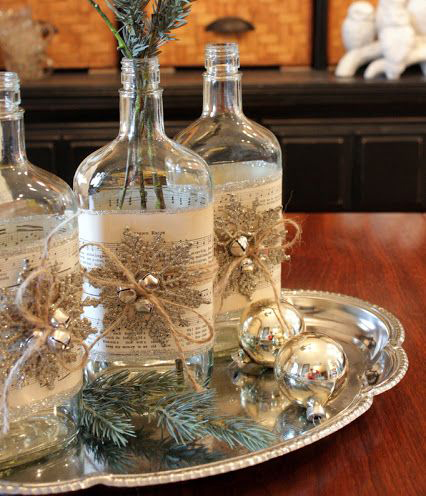 Altered Bottles Christmas Centerpiece