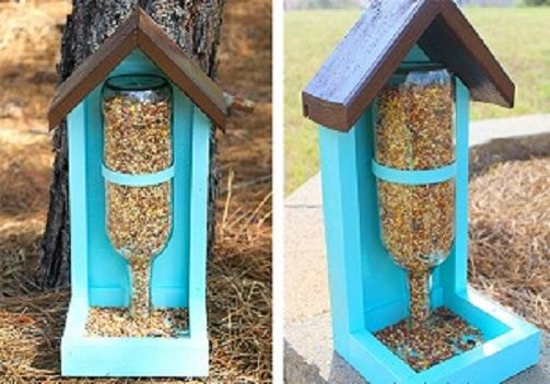 Bird Feeder Made of Empty Wine Bottle