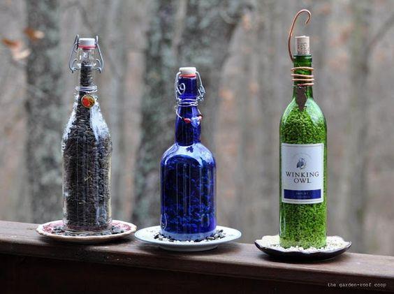 Bird Feeders Made of Empty Wine Bottles