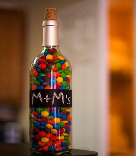 Chalkboard Painted Wine Bottle Jar Filled With M&Ms