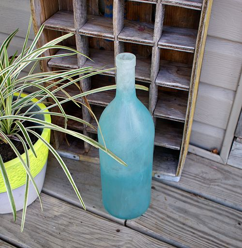 Frosted Glass Paint Ombre Wine Bottle
