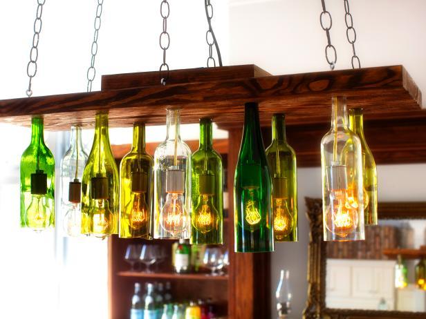 Hanging Wine Bottle Chandelier