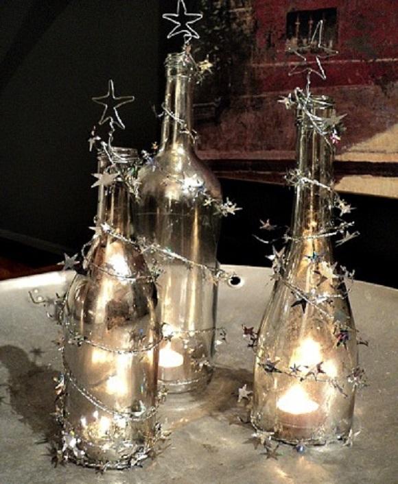 Mercury Glass Wine Bottle Trees