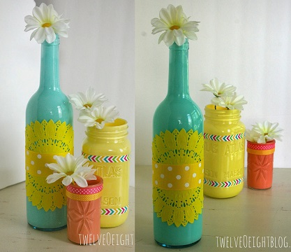 Painted Glass Bottle Vases