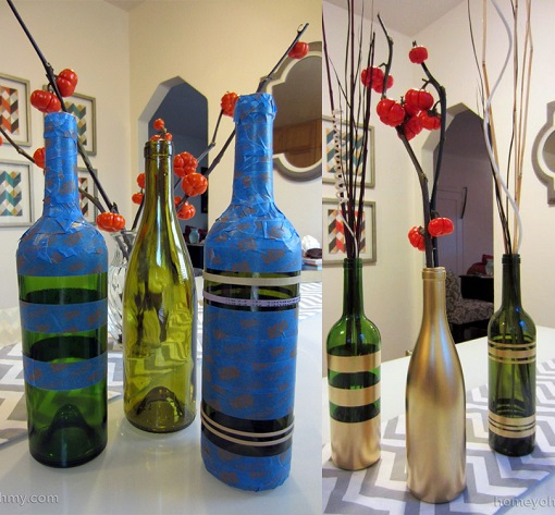 Spray Painted Wine Bottles for Fall Decorating