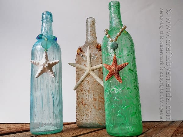 Textured Beach Wine Bottles