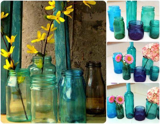 Tinted Jar Vases