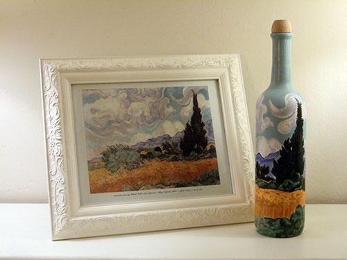 Van Gogh Art on a Wine Bottle