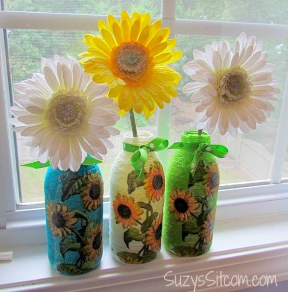 Yarn Wrapped Bottles with Decoupage