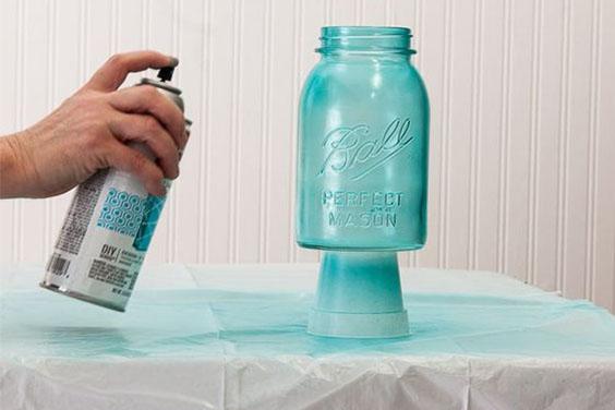 Spray Painting Glass Jars