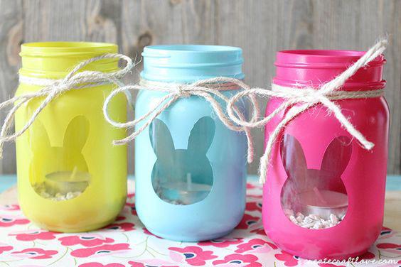 Cutout Painted Jars