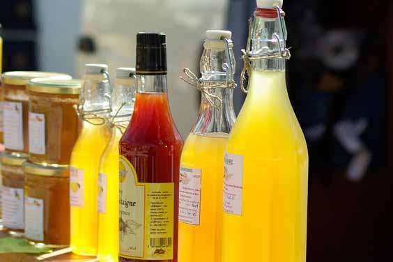 Packaged Juice Bottles on Display