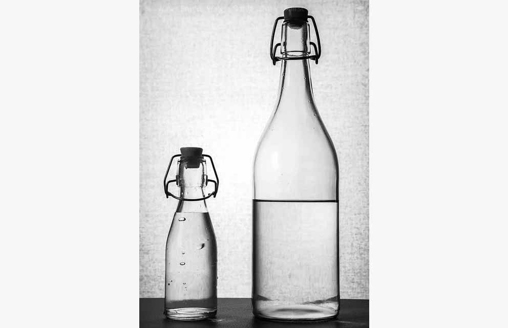 Glass Bottles Containing Water