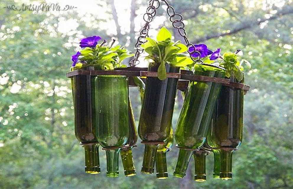 Inverted Hanging Wine Bottles Containing Flowers