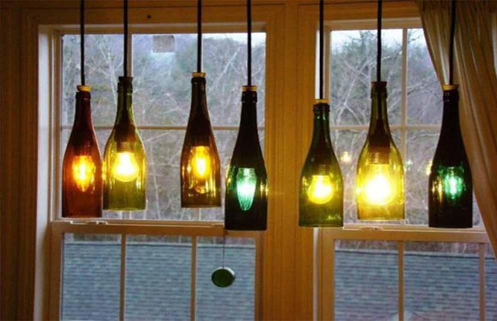 Wine Bottle Lanterns On A Window