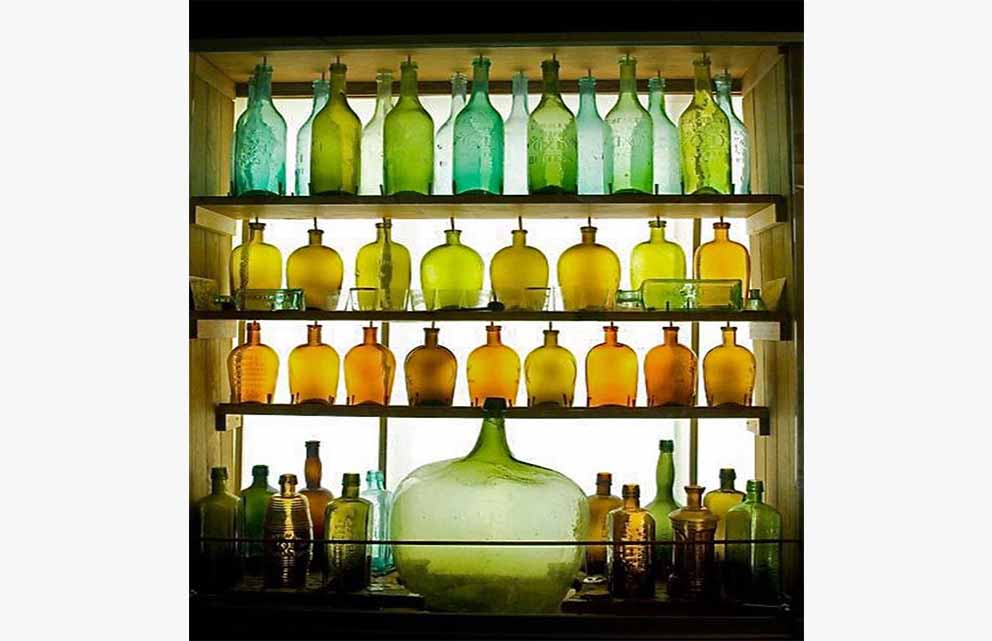 Glass Bottles displayed in a Showcase