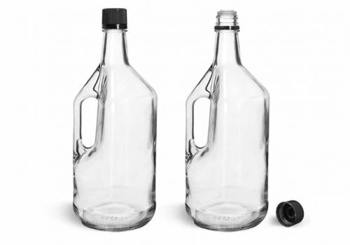 Clear Glass Bottles with Handles and Black Tops