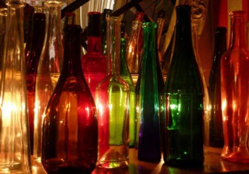 Colorful wine bottles