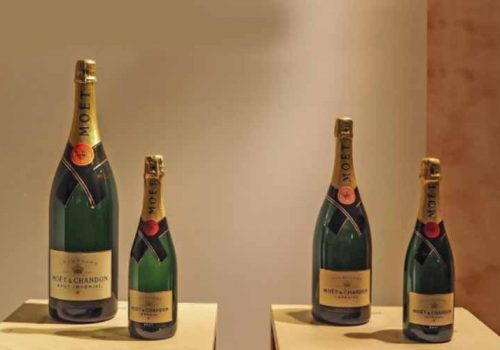 Different size bottles of Moet Champagne