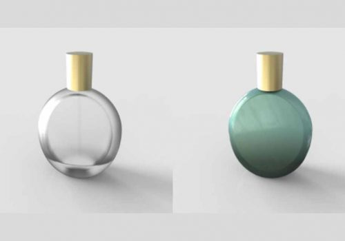 Perfume=bottle-before-and-after-metallization